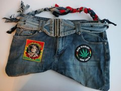 H2BN One Love Jean Bag With Bob Marley & Ganja Leaf Patches