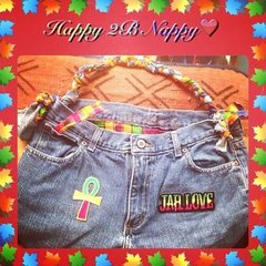 H2BN Jean Bag with Ankh & Jah Love Patches