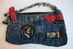 H2BN Jean Bag With Rasta Baby Patch & Bob Marley