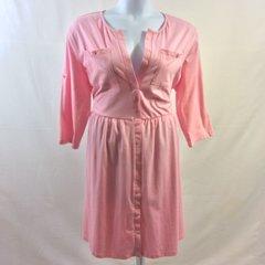 V-Neck, Button Front Dress