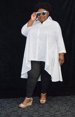 Asymmetric Blouse - White