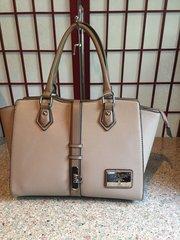 Buckled Front Two-Tone Satchel Handbag