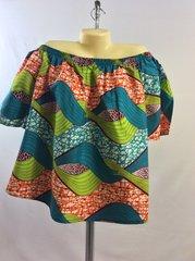 Off-Shoulder African Print Short Sleeve Blouse