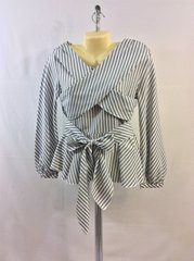 Lantern Sleeve Stripe Print Belted Blouse