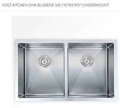"VOGT - BLUDENZ Under-Mount Kitchen Sink 16R (""32""X18""X10"") (103218B) (P30, P31)"