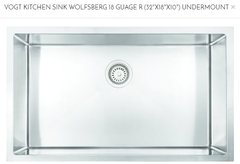 "VOGT- WOLFSBERG 18r Under-Mount Kitchen Sink(32""X18""X10"") (303218w) (P29)"