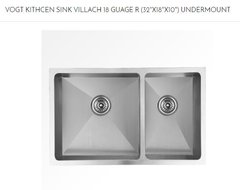 "VOGT - Villach Under-mount double bowl kitchen sink 18R. (32""X18""X10"") (303218V) (P36)"