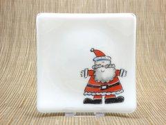 Santa white glass curved plate
