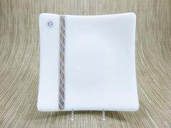 White glass medium square curved plate