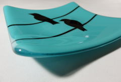 Light blue glass medium square curved plate