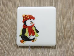 Penguin cream glass coaster