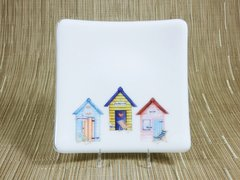 Beach huts (3 combo) on white glass curved plate