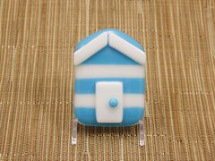 Beach hut glass fridge magnet - sky blue/white stripes with white trim