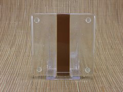 Chocolate/clear glass square coaster - 1 stripe
