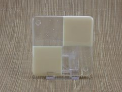 Ivory/clear glass coaster - 4 square