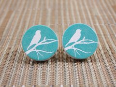 Bird on a branch wood stud earrings