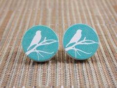 Bird on a branch wood stud earrings