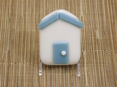 Beach hut glass fridge magnet - white with steel blue trim