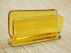 Amber glass business card stand