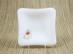 Fairy godmother white glass small square centred plate