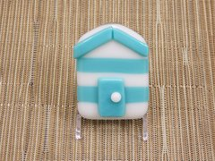 Beach hut glass fridge magnet - light blue/white stripes with blue trim