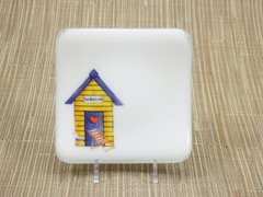 Beach hut (yellow) white glass small square curved plate