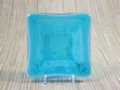 Blue (light) transparent glass small square centre plate