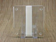White/clear glass coaster - 1 stripe