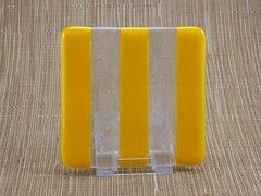Yellow/clear glass coaster - 3 stripe