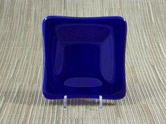 Blue (dark) transparent glass small square centre plate