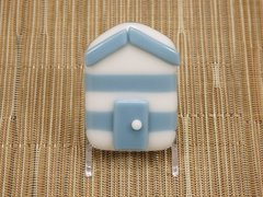 Beach hut glass fridge magnet - steel blue/white stripes with blue trim
