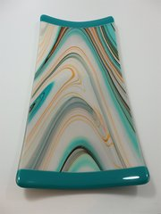 Turquoise blue swirl glass rectangular platter