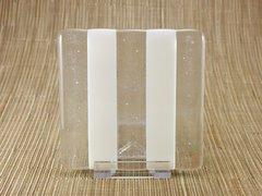 White/clear glass coaster - 2 stripe
