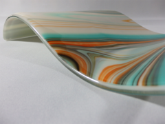 Turquoise/orange/ivory patterned rectangular glass wave
