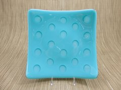 Blue (turquoise) glass medium square curved plate