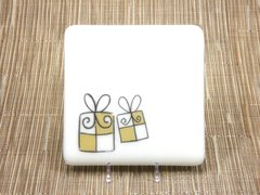 Christmas present cream glass coaster