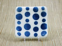 Blue shimmer spotty small curved glass plate