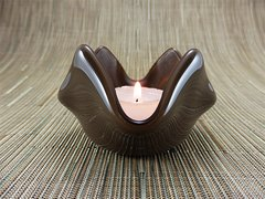 Chocolate coloured glass small bowl or candle holder