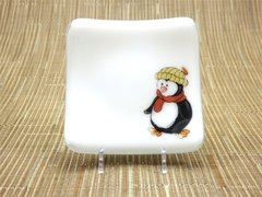 Penguin white glass small curved plate