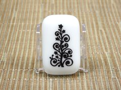 Christmas tree white glass fridge magnet