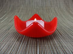 Flame red glass small curved candle holder