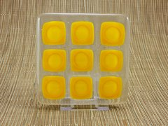 Sunflower yellow squares handmade glass coasters (set 4)
