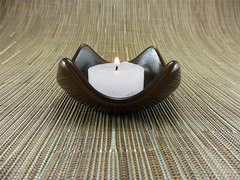 Chocolate coloured glass small curved candle holder