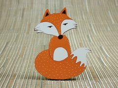 Foxy (sitting) painted wood fridge magnet
