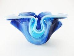 Blue patterned glass bowl/candle holder