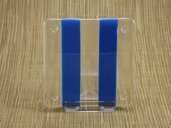 Blue/clear glass coaster - 2 stripe