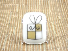 Christmas present (small) white glass fridge magnet