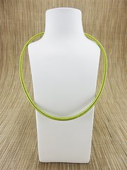Green silk necklace cord with silver plate clasp