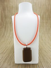 Chocolate coloured rectangular glass pendant