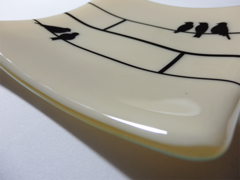 Ivory glass medium square curved plate